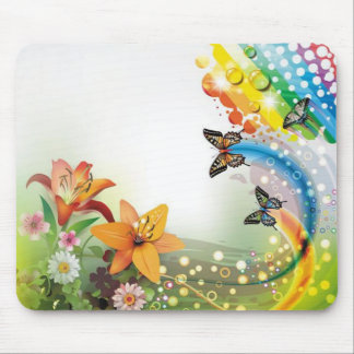 image flowers and butterflies mouse pad