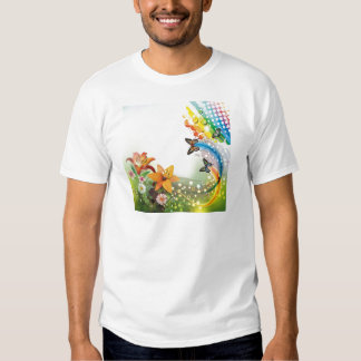 image flowers and butterflies shirt