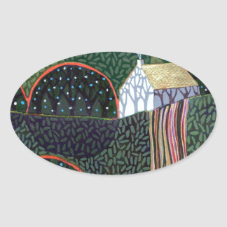 image from an original painting by Richard Friend Oval Stickers