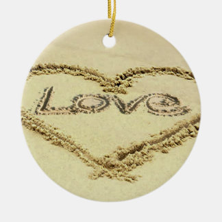 Image in the Sand for Circle-Ornament Ceramic Ornament