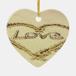 Image in the Sand for Heart-Ornament Ceramic Ornament