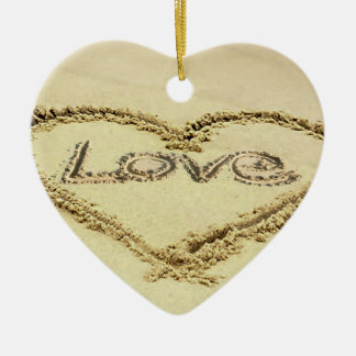 Image in the Sand for Heart-Ornament Double-Sided Heart Ceramic Christmas Ornament