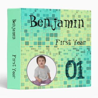 Image Insert Baby Album Blue Mosaic Binder