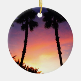 image.jpg palm trees sunset pacific coast CA Christmas Ornament