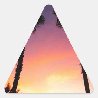 image.jpg palm trees sunset pacific coast CA Triangle Sticker
