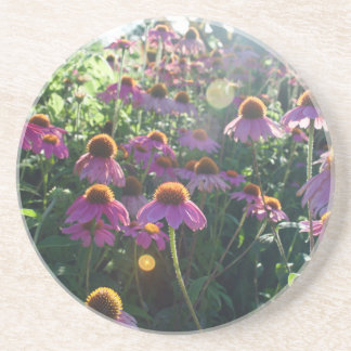 Image of a bunch of purple flowers drink coaster