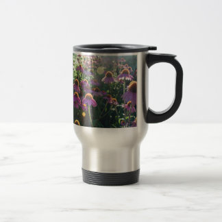 Image of a bunch of purple flowers travel mug