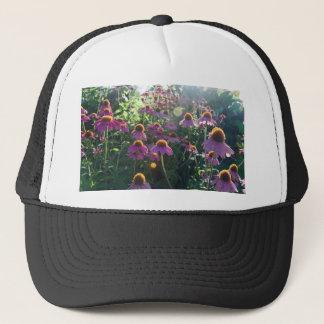 Image of a bunch of purple flowers trucker hat