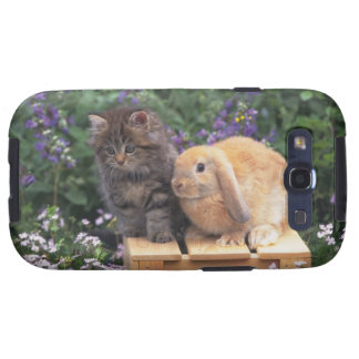 Image of a Kitten and a Lop Ear Rabbit Standing Samsung Galaxy S3 Cover