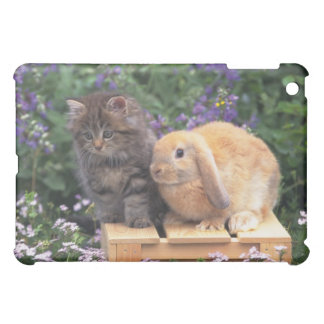 Image of a Kitten and a Lop Ear Rabbit Standing Case For The iPad Mini