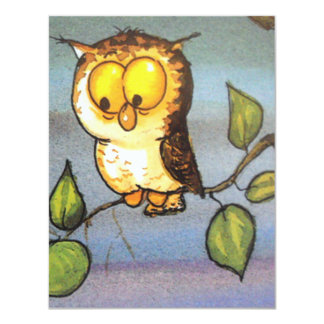 image of a owl 4.25x5.5 paper invitation card