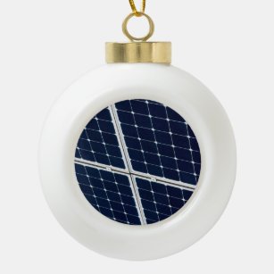 Image of a solar power panel funny ceramic ball christmas ornament