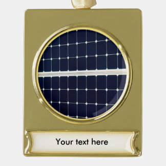 Image of a solar power panel funny gold plated banner ornament