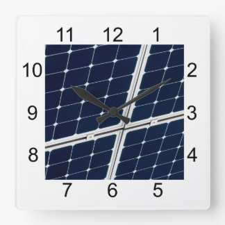 Image of a solar power panel funny square wall clock