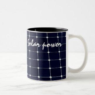 Image of a solar power panel funny Two-Tone coffee mug