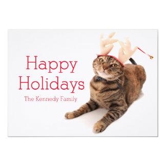 Image of a very cute little cat wearing reindeer card