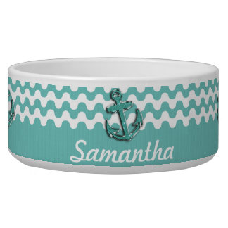 Image of Aqua Green Glitter Anchor on Wavy ZigZag Pet Water Bowl