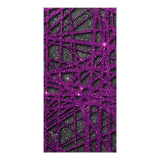 Image of black and purple stripe glitter customized photo card