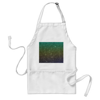 Image of blue yellow green gradient glitter adult apron
