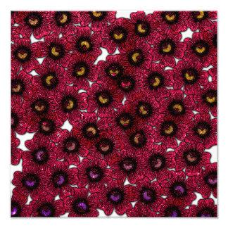 Image of Burgundy Floral Glitter Print Art Photo