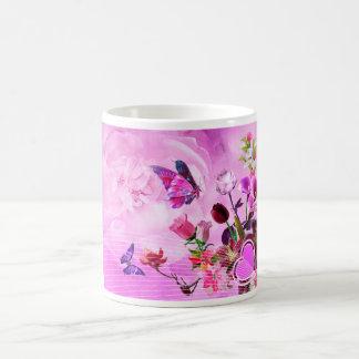 image of butterflies and flowers coffee mug