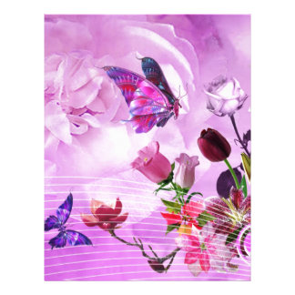 image of butterflies and flowers letterhead