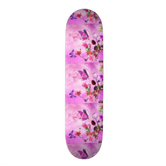 image of butterflies and flowers skateboard