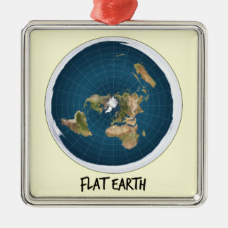 Image Of Flat Earth Metal Ornament