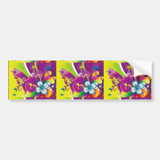image of flower and butterfly bumper stickers