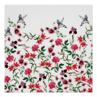 image of flowers and birds poster