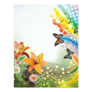image of flowers and butterflies card