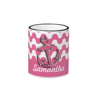 Image of Glitter Anchor Monogogram pink and white Ringer Coffee Mug
