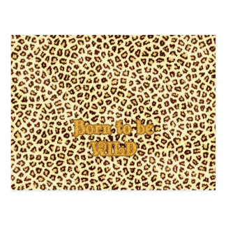 """Image of Glitter """"Born to be Wild"""" on Leopard Postcard"""