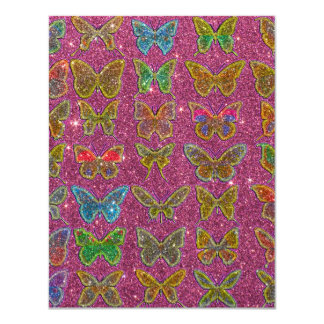 Image of Glitter Colorful Butterflies Card