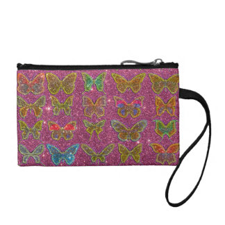 Image of Glitter Colorful Butterflies Change Purse
