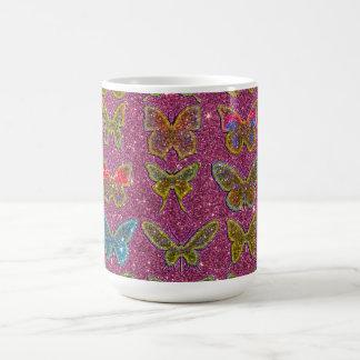 Image of Glitter Colorful Butterflies Coffee Mug