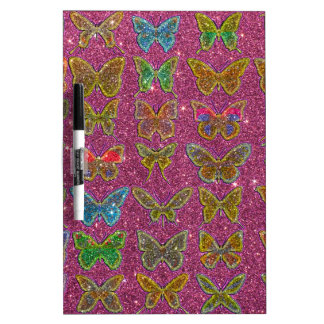 Image of Glitter Colorful Butterflies Dry Erase Whiteboard