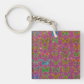Image of Glitter Colorful Butterflies Keychain