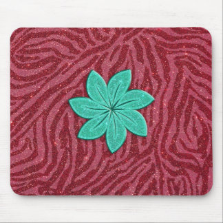 Image of Glitter Pink Zebra Print and Teal Flower Mouse Pad