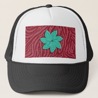 Image of Glitter Pink Zebra Print and Teal Flower Trucker Hat