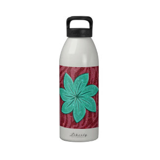 Image of Glitter Pink Zebra Print and Teal Flower Reusable Water Bottle