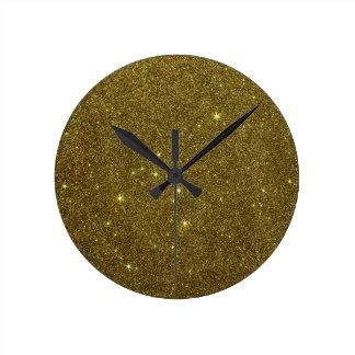 Image of gold Glitter Round Clocks