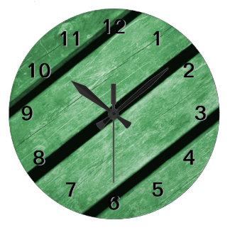 Image of Green Planks of Wood Wall Clocks