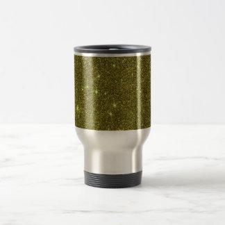 Image of greenish yellow glitter travel mug