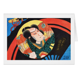 Image of kabuki actor on folding fan Utagawa ukiyo Card