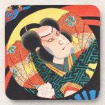Image of kabuki actor on folding fan Utagawa ukiyo Beverage Coasters