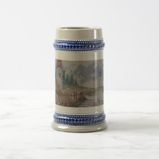 image of lighthouse and house beer stein