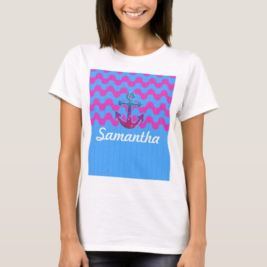 Image of Monogram on Glitter Anchor and ZigZag T-Shirt