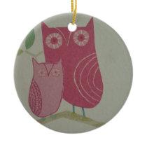 image of owls ceramic ornament