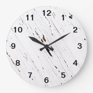Image of Planks of Wood with Chipped Paint. Large Clock